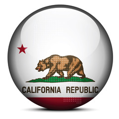 Map with Dot Pattern on flag button of USA California State