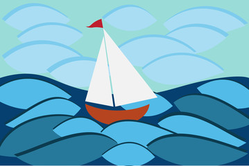 Sailboat in sea, vector for travel or another design