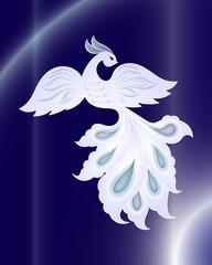 Magic white bird on dark blue background