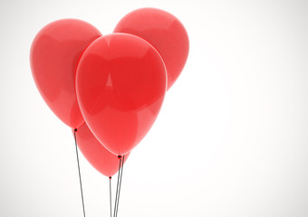 Red balloon heart isolated