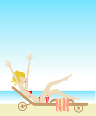 Woman tanning at beach vector artwork