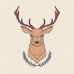 Vector hand drawn colorful illustration of deer and laurel