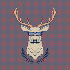 Vector hand drawn colorful illustration of hipster deer