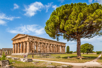 Tuinposter Athene Temples of Paestum Archaeological Site, Salerno, Campania, Italy