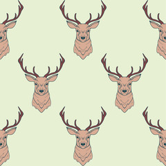 Vector seamless pattern with deer