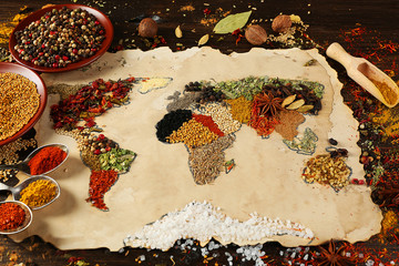 Printed kitchen splashbacks Spices Map of world made from different kinds of spices
