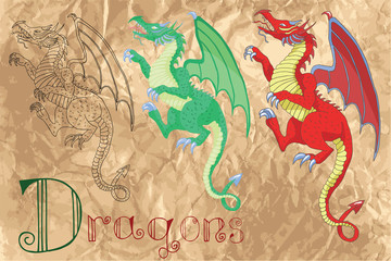 Set with medieval dragons on paper background