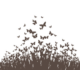 butterflies and grass vector silhouette