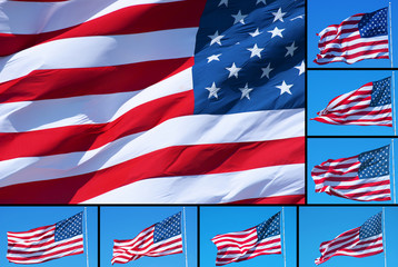 American flags collage