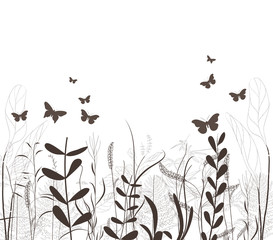 grass vector silhouette and butterflies