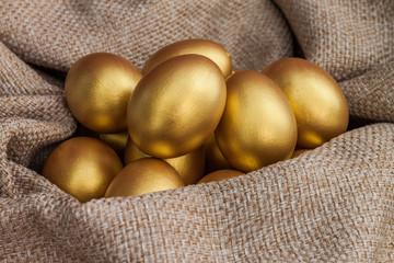 Heap of golden easter egg