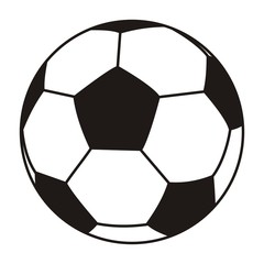 soccer ball, black and white vector icon