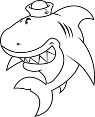 funny looking great white shark with sailor hat.coloring book