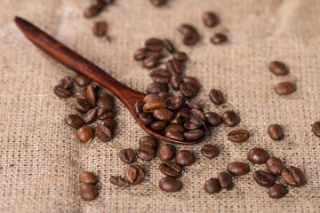 Roasted coffee beans in wooden spoons on burlap