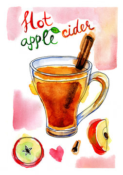 Watercolor picture of apple cider with cinnamon stick