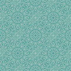 Turquoise seamless pattern with lace ornament