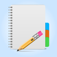 Vector illustration of realistic spiral notebook