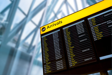Check in, Airport Departure & Arrival information board sign Wall mural
