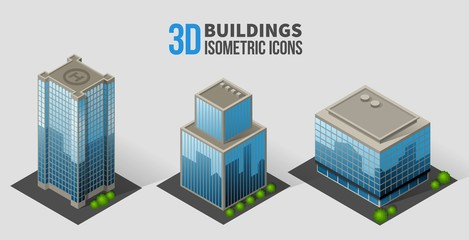 Vector skyscrapers with trees, isometric buildings of glass and