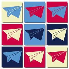 Avion en papier pop art