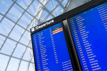 Fotomurales - Flight, arrival and departure  board at the airport,