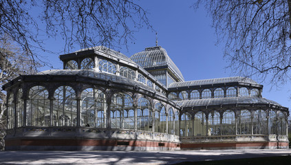 View of the Crystal Palace in the Retiro Park in Madrid
