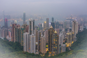 Foggy skyline of a Hong Kong and Kowloon evening