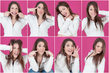 Collage funny fucsia woman