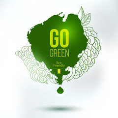 Go green blob, eco friendly hand drawing logo