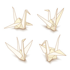 Vector isolated origami paper cranes