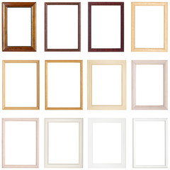 collection of simple wooden picture frames, isolated on white