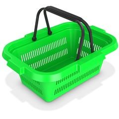 3d green empty shopping basket