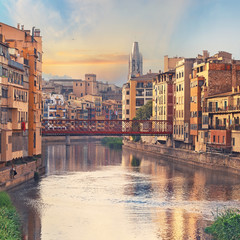 Sunset in Old Girona town, view on river Onyar