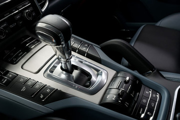 Automatic car transmission. Interior detail.