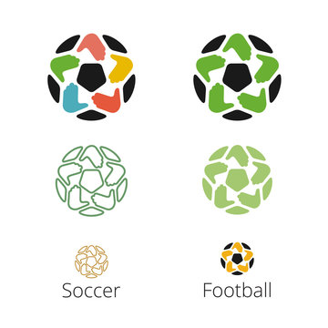 Logo with a soccer ball with hands like a star