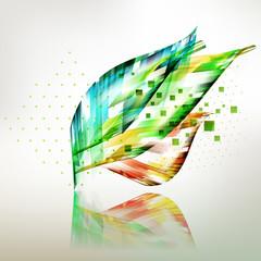 Fresh colored geometric leaves background