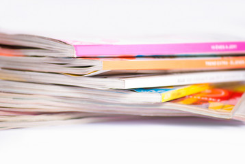 Colorful magazines close up