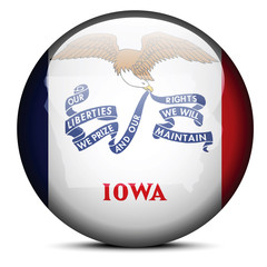 Map on flag button of USA Iowa State