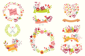 Hand drawn vintage flowers and floral elements for holidays
