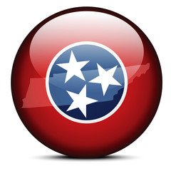 Map on flag button of USA Tennessee State