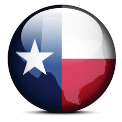 Map on flag button of USA Texas State
