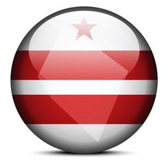 Map on flag button of USA Washington DC