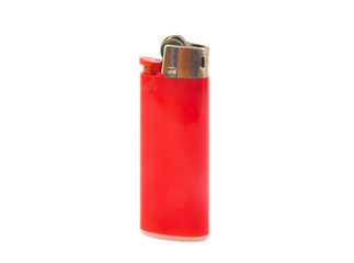 Red lighter on white background
