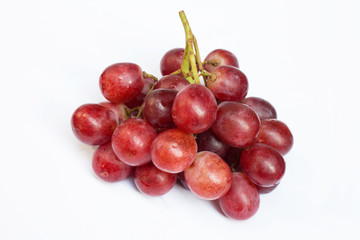 red grapes in white background