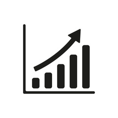 The growing graph icon. Progress symbol. Flat