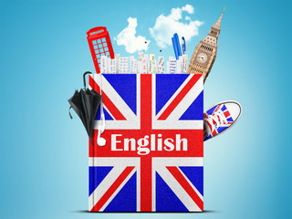 English language textbook with the British flag and umbrella