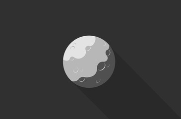 Moon with shadow isolated on gray background. Flat design.