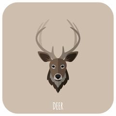 Animal Portrait With Flat Design Vector Illustration. Deer