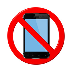 No mobile phone sign, vector illustration