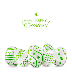 Easter eggs with green decoration